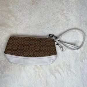 Coach Brown Fabric White Leather Wristlet Clutch